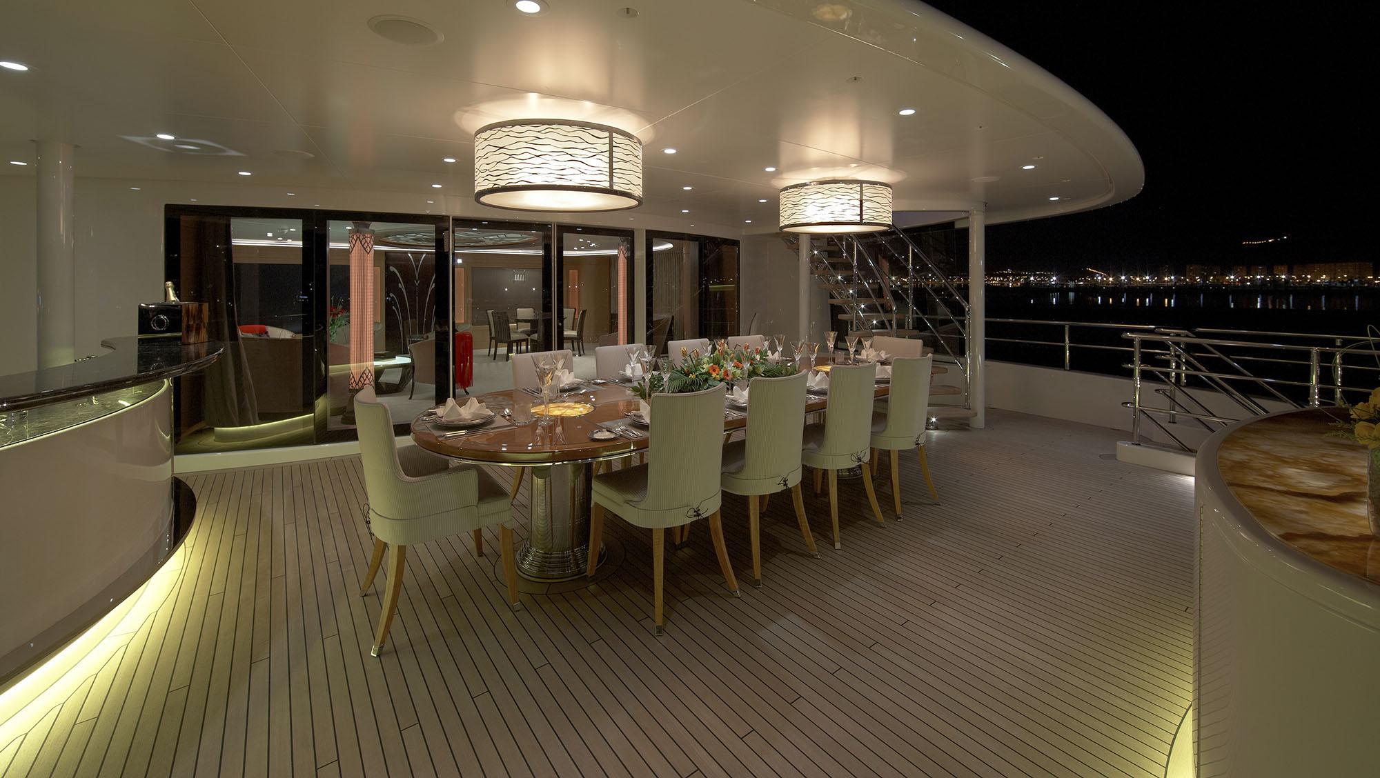 Main exterior dining location on the aft bridge deck